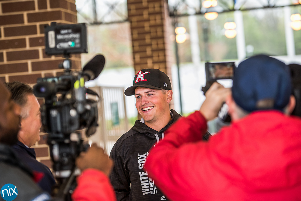 Kannapolis Intimidators manager Justin Jirschele speaks to media members during the team's media day Wednesday afternoon.
