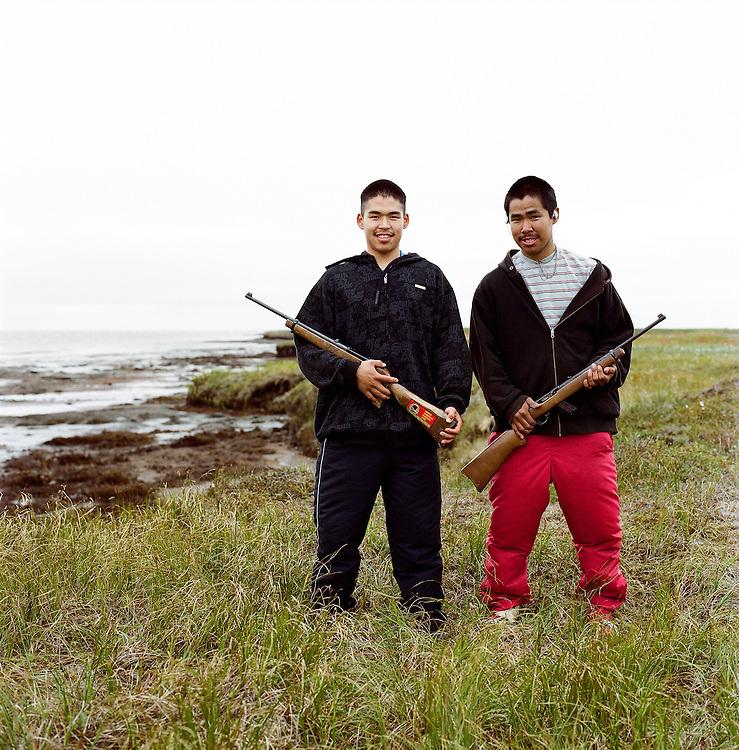 Bosco and Bosco in Newtok, Alaska. 2008