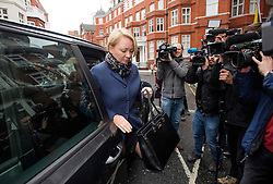 © Licensed to London News Pictures. 14/11/2016. London, UK. Swedish official INGRID ISGREN (blonde hair) arrives with other officials at the Ecuadorian Embassy in London where they are expected to interview WikiLeaks editor-in-chief, Julian Assange. Assange, who has been living at the embassy for over four years, is wanted for questioning over accusations of rape in Stockholm in 2010.  Photo credit: Ben Cawthra/LNP
