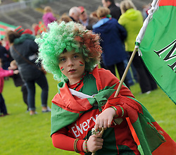 Young Mayo fan David Walsh from Claremorris at the team&rsquo;s homecoming in McHale park yesterday.<br />