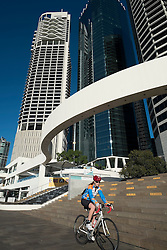Modern high-rise buildings at Eagle Street Pier beside river in Brisbane CBD Queensland Australia
