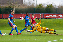 LIVERPOOL, ENGLAND - Monday, February 24, 2020: Sunderland's goalkeeper Anthony Patterson makes a save during the Premier League Cup Group F match between Liverpool FC Under-23's and AFC Sunderland Under-23's at the Liverpool Academy. (Pic by David Rawcliffe/Propaganda)