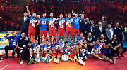 Poland, Krakow - 2017 September 03: Serbia volleyball team celebrate their bronze medals while awarding ceremony after final match between Germany and Russia during Lotto Eurovolleyball Poland 2017 - European Championships in volleyball at Tauron Arena on September 03, 2017 in Krakow, Poland.<br /> <br /> Mandatory credit:<br /> Photo by &copy; Adam Nurkiewicz<br /> <br /> Adam Nurkiewicz declares that he has no rights to the image of people at the photographs of his authorship.<br /> <br /> Picture also available in RAW (NEF) or TIFF format on special request.<br /> <br /> Any editorial, commercial or promotional use requires written permission from the author of image.
