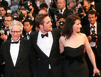 Director David Cronenberg, actor Robert Pattinson and actress Juliette Binoche at the Cosmopolis gala screening at the 65th Cannes Film Festival France. Cosmopolis is directed by David Cronenberg and based on the book by writer Don Dellilo.  Friday 25th May 2012 in Cannes Film Festival, France.