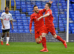 LONDON, ENGLAND - Friday, April 17, 2015: Liverpool's Ryan Kent celebrates scoring the first goal against Tottenham Hotspur with team-mate Samid Yesil during the Under 21 FA Premier League match at White Hart Lane. (Pic by David Rawcliffe/Propaganda)