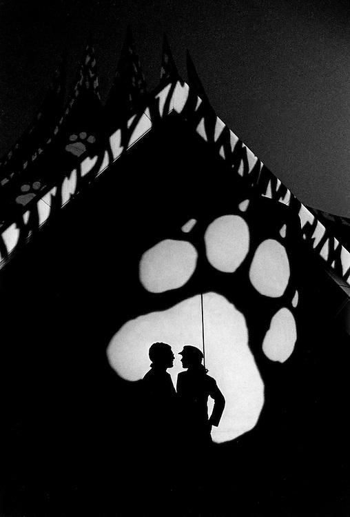 DEU Deutschland Germany Berlin Die Schatten eines Paares in der Projektion der taz Tatze während der 25-Jahr-Feier der Tageszeitung im Tempodrom.