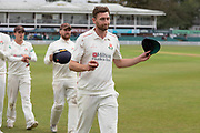 Richard Gleeson takes 6-43 during the Specsavers County Champ Div 2 match between Leicestershire County Cricket Club and Lancashire County Cricket Club at the Fischer County Ground, Grace Road, Leicester, United Kingdom on 23 September 2019.