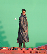 ***EXCLUSIVE*** Zachary Quinto and Benedict Cumberbatch continue to film a fight scene on top of a Space Barge set for the untitled Star Trek 2 sequel. Zachary Quinto as Spok is rigged to a wire as he runs and jumps off the end of the space barge into some stunt pads. Benedict Cumberbatch  also did some jumping sequences for the cameras. February 28th 2012 Los Angeles, CA.   Photos by Eric Ford/On Location News 1/818-613-3955 info@onlocationnews.com