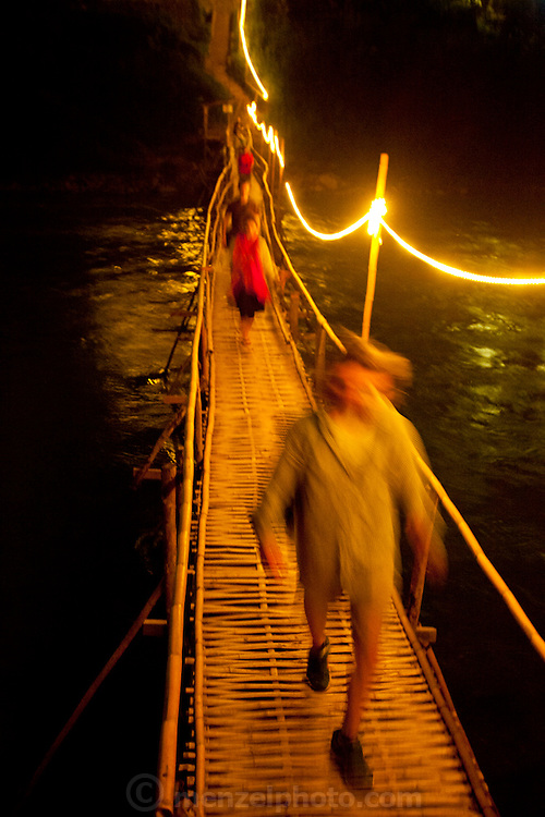 Bamboo bridge across the Nam Khan River, Luang Prabang,