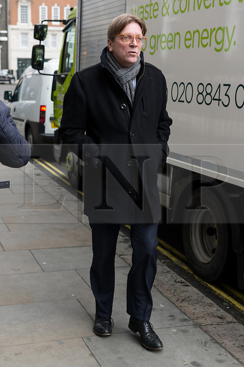 © Licensed to London News Pictures. 30/12/2017. EU Parliament Brexit Negotiator Guy Verhofstadt arrives for a speech at Chatham House to set out his vision for the future of the political order in Europe. London, UK. Photo credit: Ray Tang/LNP