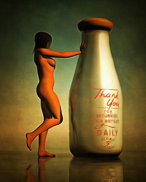 "The title of this acryl on canvas piece translates to ""milk bottle."" It is a simple title, and it would seem as though this title only provides us with a slight indication of what's going on. A classic milk bottle, which includes the writing on the bottle that thanks the consumer for returning the bottle when finished, stands. A nude woman has approached it, and she is pressing her hand against the neck of the bottle. Perhaps she is hot, and the cool milk bottle is providing something in the way of comfort. Available as t-shirts, wall art, or as interior home décor products."