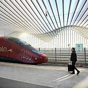 Treno di Italo nella stazione di Reggio Emilia Altavelocità Mediopadana. 2 Novembre 2015