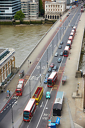 **PREVIOUSLY UNSEEN PICTURES** <br /> &copy; Licensed to London News Pictures. 04/06/2017. LONDON, UK.  General view of abandoned vehicles on London Bridge pictured the day after Khuram Butt, Rachid Redouane and Youssef Zaghba murdered at least eight people in a terror attack. Photo credit: Cliff Hide/LNP