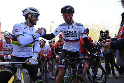 World Champion Alejandro Valverde (ESP) Movistar Team and Slovakian National Champion Peter Sagan (SVK) Bora-Hansgrohe line up for the start of the 2019 Ronde Van Vlaanderen 270km from Antwerp to Oudenaarde, Belgium. 7th April 2019.<br /> Picture: Eoin Clarke | Cyclefile<br /> <br /> All photos usage must carry mandatory copyright credit (© Cyclefile | Eoin Clarke)