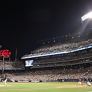 Pitcher Hansel Robles, New York Mets, striking out Bryce Harper, Washington Nationals, during the New York Mets Vs Washington Nationals, MLB regular season baseball game at Citi Field, Queens, New York. USA. 1st August 2015. (Tim Clayton for New York Daily News)