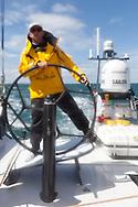 ENGLAND, Cowes. 10th August 2011. Training with Abu Dhabi Ocean Racing. Ian Walker, Skipper, Volvo 70, Azzam. Abu Dhabi Volvo Ocean Race Team.