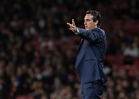 Football - 2018 / 2019 UEFA Europa League - Group E: Arsenal vs. Vorskla Poltava<br /> <br /> Unai Emery, manager of Arsenal FC, gives his team some direction at The Emirates.<br /> <br /> COLORSPORT/DANIEL BEARHAM