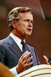 United States Vice President George H.W. Bush addresses the 1984 Republican Convention as he accepts their nomination for reelection as Vice President of the United States at the Reunion Arena in Dallas, Texas on August 23, 1984.Credit: Howard L. Sachs / CNP /ABACAPRESS.COM