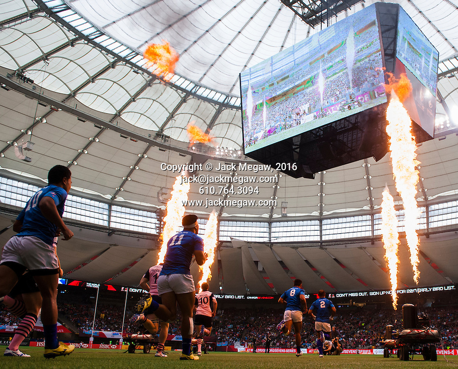 Samoa play Scotland during the Plate Final of the 2016 Canada Sevens leg of the HSBC Sevens World Series Series at BC Place in  Vancouver, British Columbia. Sunday March 13, 2016. Photo: Jack Megaw / www.photosport.nz