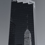 """""""Campbell Mithun Tower Minneapolis"""" mono<br /> <br /> The beautiful Campbell Mithun Tower with reflections of the Foshay Tower. <br /> <br /> Cities and Skyscrapers by Rachel Cohen"""