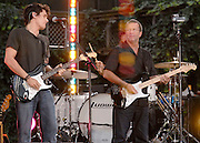 John Mayer and Eric Clapton perform on the Good Morning America Summer Concert Series in Bryant Park on Friday, July 20, 2007 in New York.