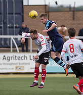 Forfar's Thomas O'Brien outjumps Clyde's David Goodwillie during Forfar's 3-0 win over Clyde in SPFL League Two  at Station Park, Forfar, Photo: David Young<br /> <br />  - &copy; David Young - www.davidyoungphoto.co.uk - email: davidyoungphoto@gmail.com