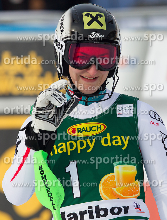 "ZETTEL Kathrin (AUT) celebrates after the 2nd Run of FIS Alpine Ski World Cup 7th Ladies' Slalom race named ""49th Golden Fox 2013"", on January 27, 2013 in Mariborsko Pohorje, Maribor, Slovenia. (Photo By Vid Ponikvar / Sportida.com)"