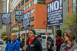 April 24, 2017 - New York, United States - Refuse Fascism held a press conference outside the Museum of Jewish Heritage at 36 Battery Place, in New York City; protesting the Trump administration's threats and actions against followed by a peaceful procession to the the U.S. Federal Building at 26 Federal Plaza, where participants attempted to present the Adolf Eichmann Award to Department of Homeland Security Secretary John Kelly and the Joseph Goebbels Award to Attorney General Jeff Sessions. (Credit Image: © Erik Mcgregor/Pacific Press via ZUMA Wire)