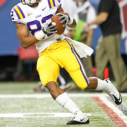Dec 3, 2011; Atlanta, GA, USA; LSU Tigers tight end Mitch Joseph (83) prior to kickoff of the 2011 SEC championship game against the Georgia Bulldogs at the Georgia Dome.  Mandatory Credit: Derick E. Hingle-US PRESSWIRE