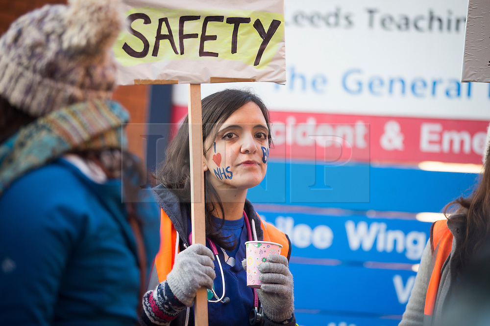 © Licensed to London News Pictures. 12/01/2016. Leeds UK. Junior doctors in Leeds have gone on strike today. Hospitals in England are expected to face major disruption today as junior doctors go on strike in a dispute with the government over a new contract. Photo credit: Andrew McCaren/LNP