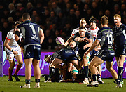Connacht lock James Cannon throws out a pass during a European Challenge Cup Quarter Final match won 20-10 by Sale in Eccles, Greater Manchester, United Kingdom, Friday, March 29, 2019.  (Steve Flynn/Image of Sport)