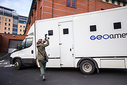 © Licensed to London News Pictures. 02/11/2017. Leeds, UK. A prison van arrives at Leeds magistrates court this morning as Two teenagers arrested in Northallerton by counter-terrorism police at the weekend are due to appear at Leeds magistrates court this morning after being charged with conspiracy to murder. The pair both 14 years old were arrested at their homes on Saturday & have been remanded in custody. Photo credit: Andrew McCaren/LNP