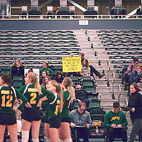 Fans during the Women's Volleyball home game on Sat Jan 26 at Centre for Kinesiology, Health & Sport. Credit: Arthur Ward/Arthur Images