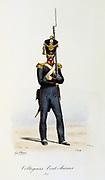 Light Infantryman of the Swiss Regiment of the King's guard, 1815.   'Histoire de la maison militaire du Roi de 1814 a 1830' by Eugene Titeux, Paris, 1890.