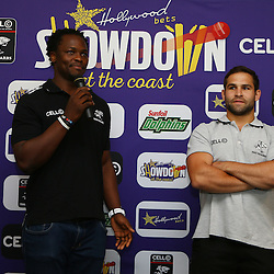 Durban South Africa -  Hollywoodbets  Lubabalo Tera Mtembu with Cobus Reinach during the joint announcement by Hollywoodbets, Cell C, the Sunfoil Dolphins and the Cell C Sharks at the President Suite at Sahara Stadium Kingsmead.Sahara Stadium Kingsmead (Photo by Steve Haag)images for social media must have consent from Steve Haag