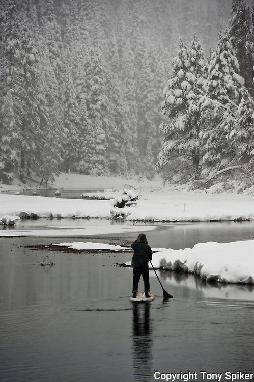 """Winter SUP on the Truckee River 1"" - Peter Spain Stand Up Paddleboarding on the Truckee River"