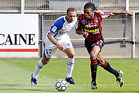 Fotball<br /> Frankrike<br /> Foto: Dppi/Digitalsport<br /> NORWAY ONLY<br /> <br /> FOOTBALL - FRENCH CHAMPIONSHIP 2008/2009 - L1 - AJ AUXERRE v OGC NICE - 24/08/2008 - LOIC REMY (NICE) / JEAN PASCAL MIGNOT (AUX)