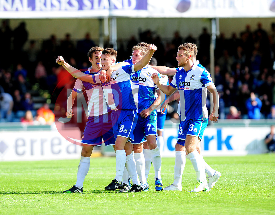 Bristol Rovers celebrate Ollie Clarkes goal - Photo mandatory by-line: Neil Brookman - Mobile: 07966 386802 23/08/2014 - SPORT - FOOTBALL - Bristol - Memorial Stadium - Bristol Rovers v AFC Telford - Vanarama Football Conference