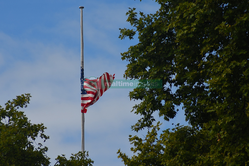 September 11, 2017 - London, United Kingdom - The American flag flies at halfmast to commemorate the victims of 9/11 terror attack, London on September 11, 2017. The September 11 attacks (also referred to as 9/11) were a series of four coordinated terrorist attacks by the Islamic terrorist group al-Qaeda on the United States on the morning of Tuesday, September 11, 2001. The attacks killed 2,997 people, injured over 6,000 others. (Credit Image: © Alberto Pezzali/NurPhoto via ZUMA Press)
