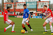 Daniel Candeias trying to create some space on the edge of the box during the Ladbrokes Scottish Premiership match between Hamilton Academical FC and Rangers at The Hope CBD Stadium, Hamilton, Scotland on 24 February 2019.