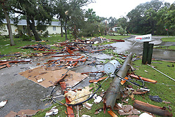 Debris from a second story roof is scattered over a two-block area after a possible tornado touched down at a Palm Bay Point subdivision on Sunday, September 10, 2017 as Hurricane Irma made landfall in the state of Florida. Photo by Red Huber/Orlando Sentinel/TNS/ABACAPRESS.COM