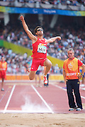Javier PORRAS of Spain in The Bird's Nest National Stadium competeing in the men's F11 long jump final at the Paralympic games, Beijing, China. 15th September 2008