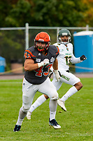 KELOWNA, BC - SEPTEMBER 22: Will Kuyvenhoven #43 of Okanagan Sun runs against the Valley Huskers at the Apple Bowl on September 22, 2019 in Kelowna, Canada. (Photo by Marissa Baecker/Shoot the Breeze)