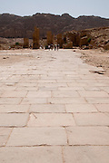 Middle East, Jordan, Petra, UNESCO World Heritage Site. paved section of the Colonnaded Street. April 2008