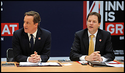 Britain's Prime Minister David Cameron and the Deputy Prime Minister Nick Clegg hold a cabinet meeting in the handball arena at the 2012 Olympic Games site  London. As the London Olympics countdown enters its final 200 days Cameron highlighted the 'lasting legacy' the London 2012 Olympics will leave, with further venues securing long-term running contracts, Monday January 9, 2012. Photo By Andrew Parsons/ i-Images