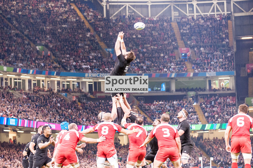 All Black line out ball goes astray. Action from the New Zealand v Georgia game in Pool C of the 2015 Rugby World Cup at Milennium Stadium in Cardiff, 2 October 2015. (c) Paul J Roberts / Sportpix.org.uk