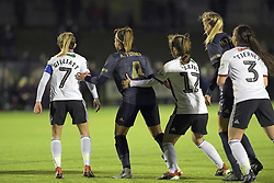 February 20, 2019 - Sheffield, United Kingdom - Push comes to shove during the  FA Women's Championship football match between Sheffield United Women and Manchester United Women at the Olympic Legacy Stadium, on February 20th Sheffield, England. (Credit Image: © Action Foto Sport/NurPhoto via ZUMA Press)