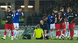 CARDIFF, WALES - Tuesday, February 1, 2011: Referee Gavin Ward is treated by the Cardiff City medical team after injuring himself during the Football League Championship match at the Cardiff City Stadium. (Photo by Gareth Davies/Propaganda)