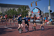 Aug 3, 2019; Canton, OH, USA; St. Helen unicycle dirll team during the Pro Football Hall of Fame Grand Parade on Cleveland Ave. in Downtown Canton. (Robin Alam/Image of Sport)