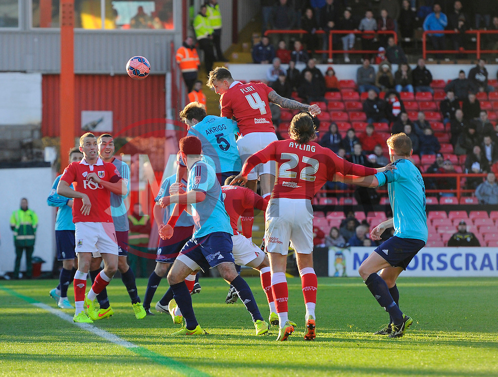 Bristol City's Aden Flint heads wide  - Photo mandatory by-line: Joe Meredith/JMP - Mobile: 07966 386802 - 07/12/2014 - SPORT - Football - Bristol - Ashton Gate - Bristol City v AFC Telford United - FA Cup